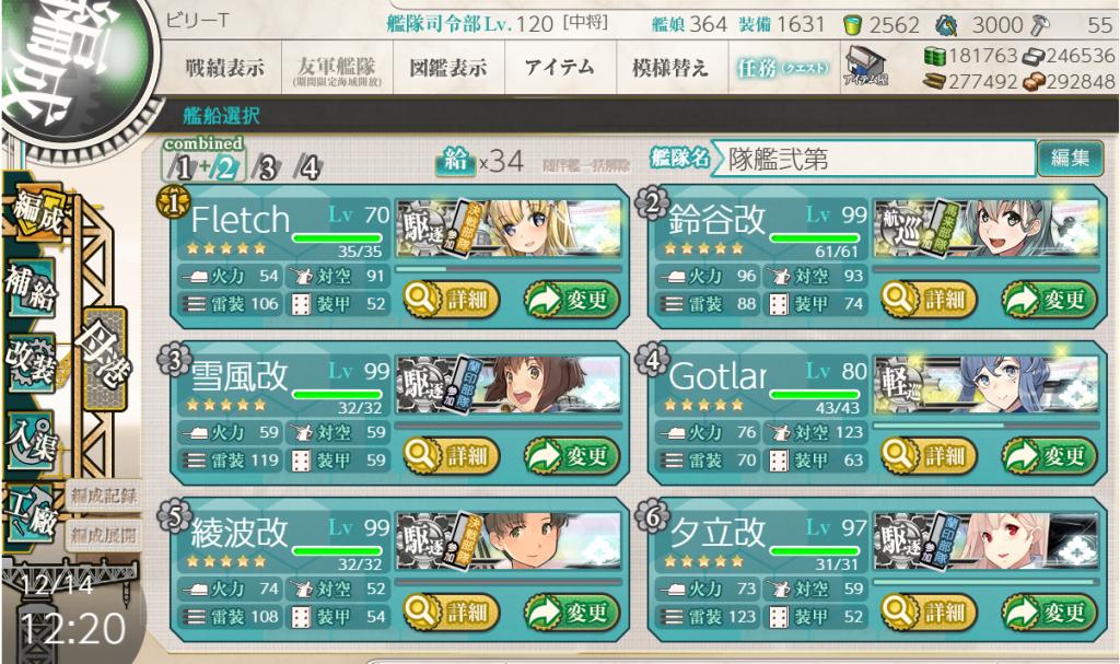 艦これ2019秋イベE-6編成2-2