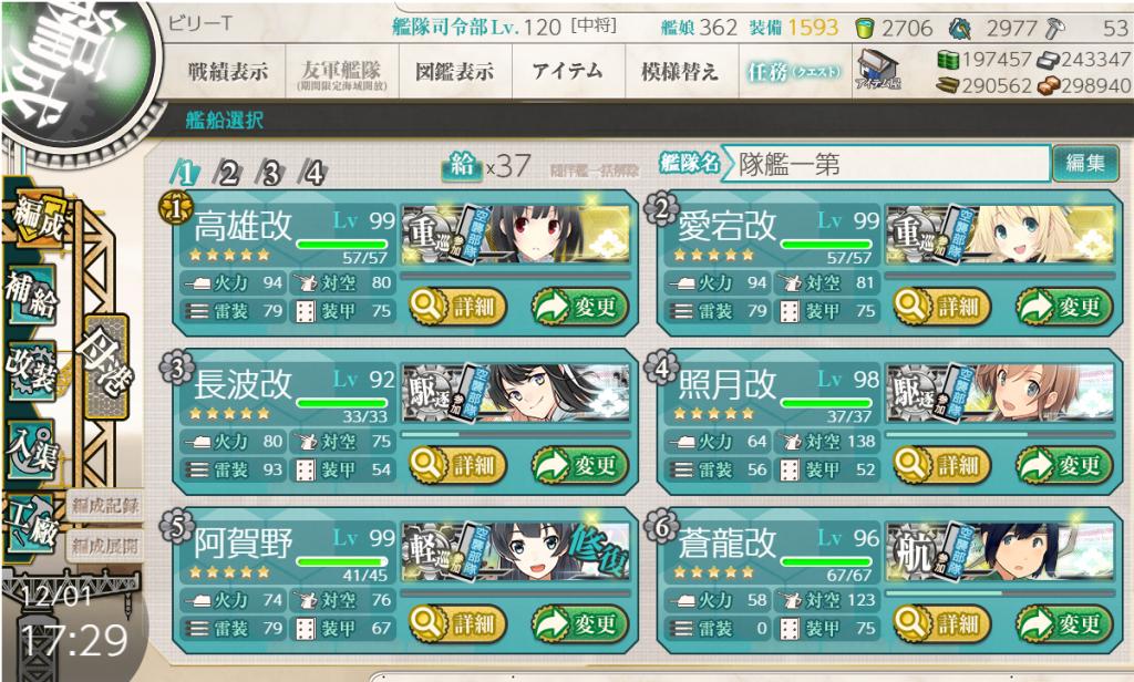 艦これ2019秋イベE-2編成1